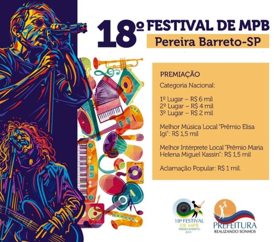 18º Festival De Mpb De Pereira Barreto Será Realizado Nesta